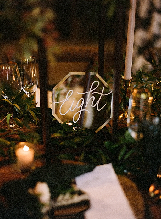 Mirrored table number reception decor Barn Wedding - Twah Photography