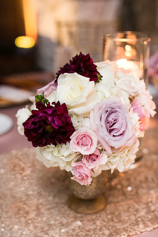 Pink purple and white reception centerpiece A Glamorous Wedding with Fireworks - Rachael Hall Photography