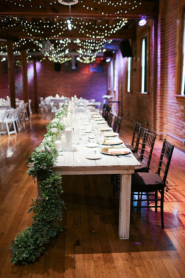 Wedding tablescape with greenery garland - Soul Creations Photography
