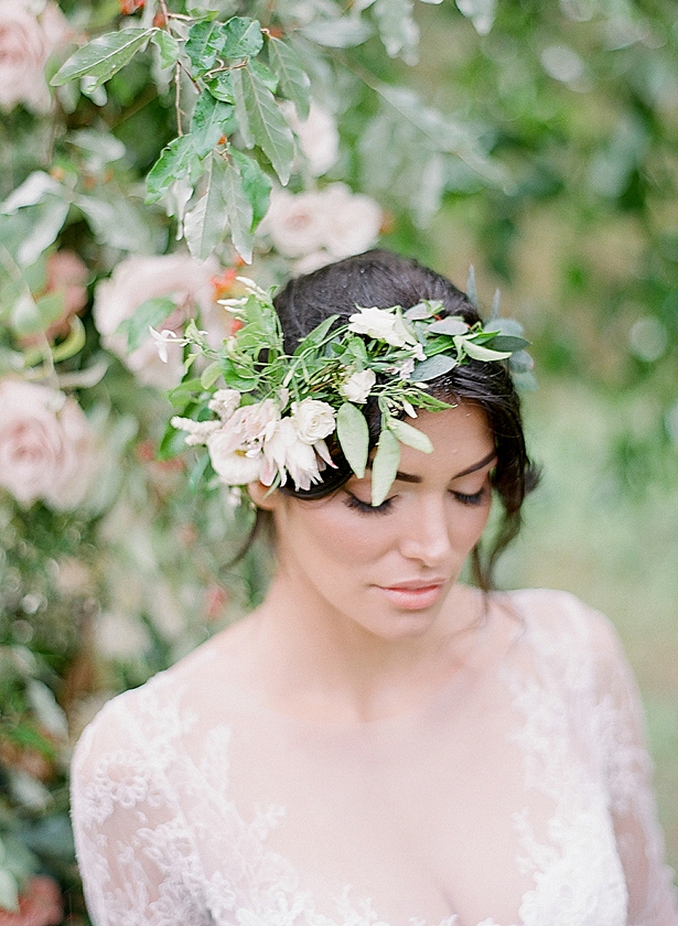 Romantic bridal updo with flower crown and natural makeup Barn Wedding - Twah Photography