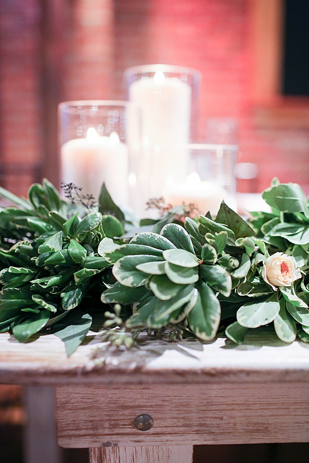 Low wedding centerpiece and table number - Soul Creations Photography