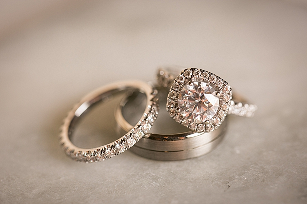 Round engagement ring with square halo A Glamorous Wedding with Fireworks - Rachael Hall Photography