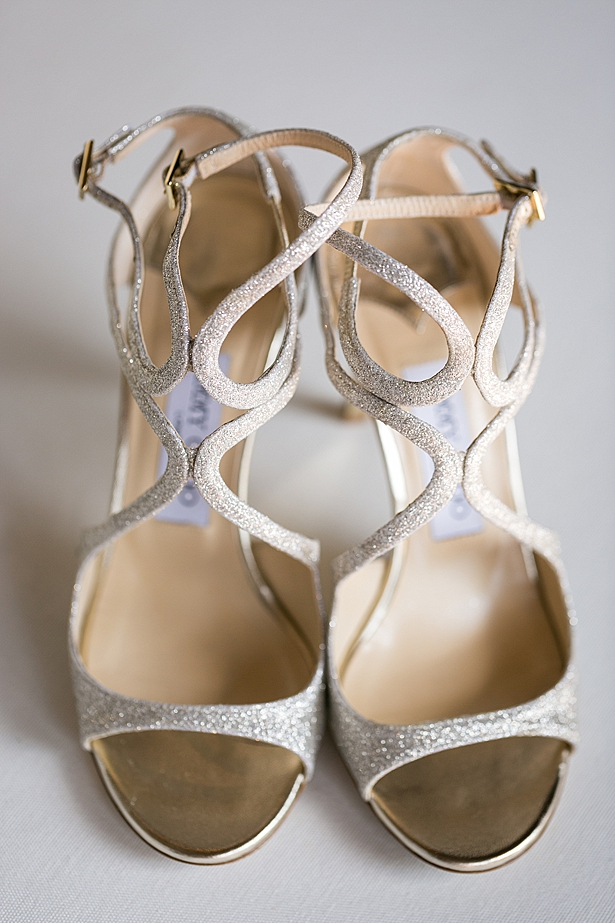 Silver sparkly wedding heels A Glamorous Wedding with Fireworks - Rachael Hall Photography