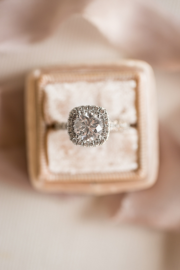 Stunning round engagement ring with square halo A Glamorous Wedding with Fireworks - Rachael Hall Photography