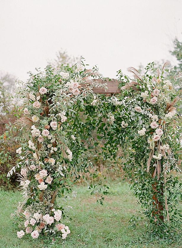 White and blush ceremony arbor decor with greenery Barn Wedding - Twah Photography