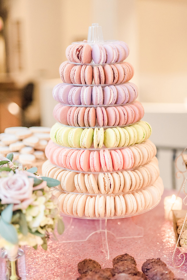 Wedding French Macaroon tower -Photo by Stephanie Kase Photography