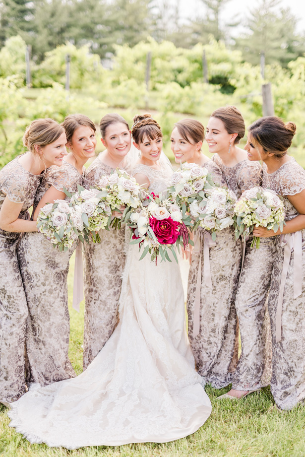 Long metallic bridesmaid dresses - Photo by Stephanie Kase Photography