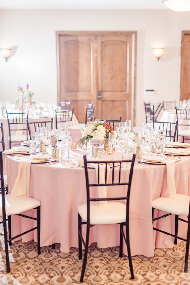 Pink Wedding Reception Tablescape -Photo by Stephanie Kase Photography