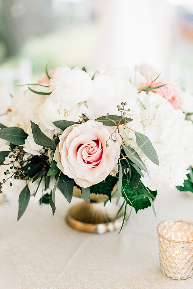 Blush and white wedding reception centerpiece with gold - Jenna Bacholt Photography