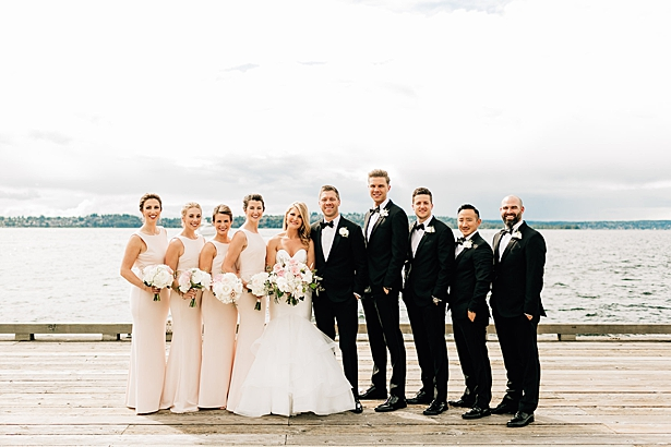 Classic must have bridal party photo on the water - Jenna Bacholt Photography