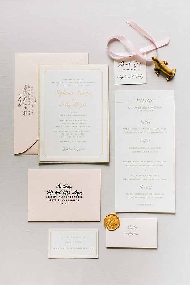 Classic white and gold wedding invitation suite with blush envelopes - Jenna Bacholt Photography