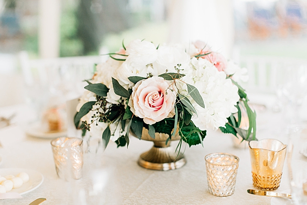 Gold and blush wedding with white flowers reception centerpiece inspiration - Jenna Bacholt Photography