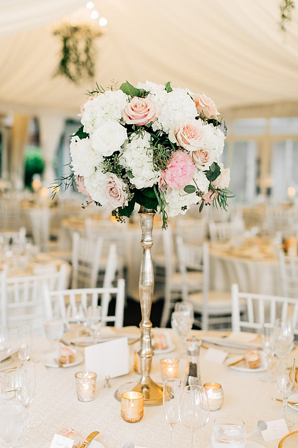 Gold reception decor with white and blush flowers - Jenna Bacholt Photography