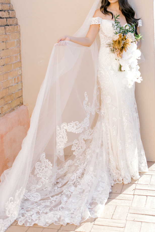 Lace off the shoulder sheath dream wedding dress by Allure Bridals - Sparrow and Gold Photography