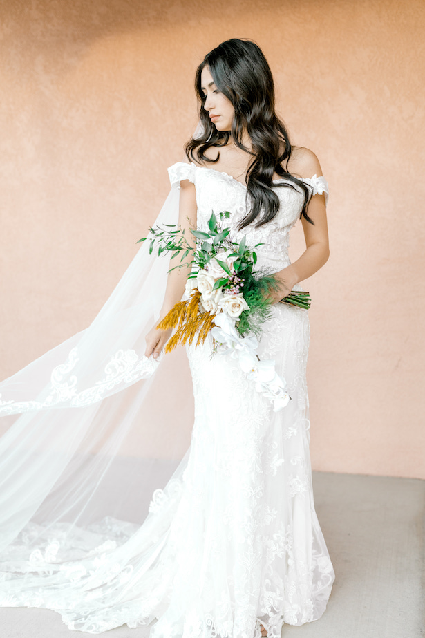 Lace off the shoulder sheath wedding dress by Allure Bridals - Sparrow and Gold Photography