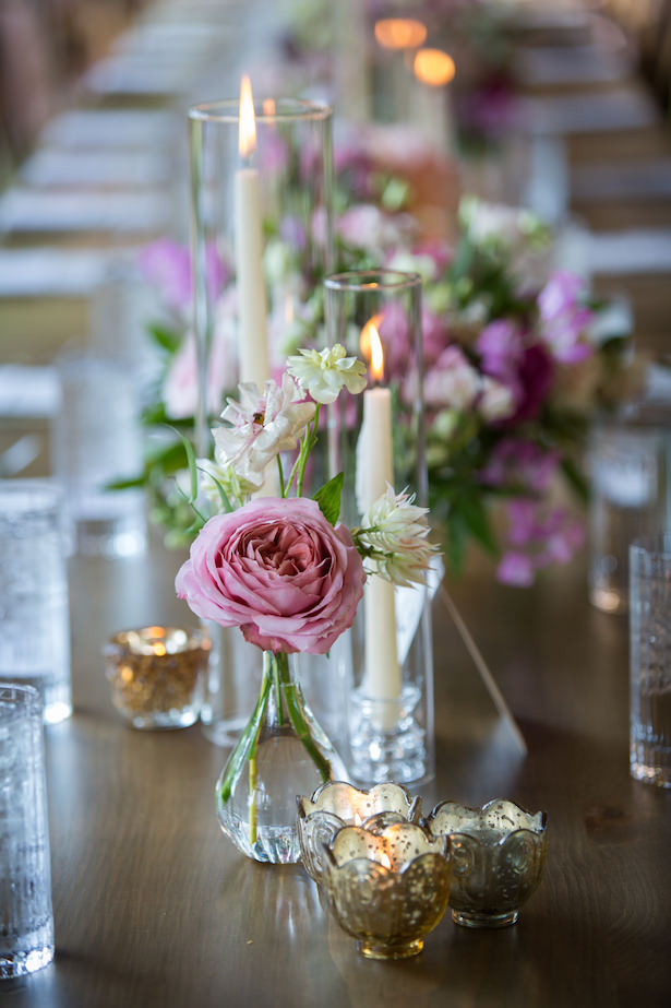 Low pink wedding centerpiece - Photography: 6 of Four