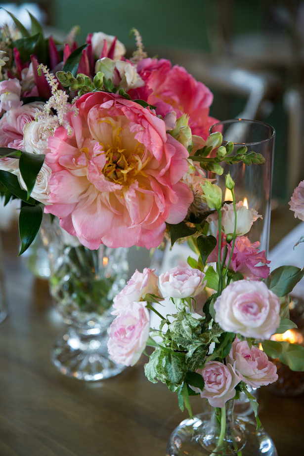 Low pink wedding centerpiece with peonies - Photography: 6 of Four