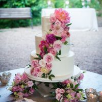 Pink floral wedding cake - Photography: 6 of Four