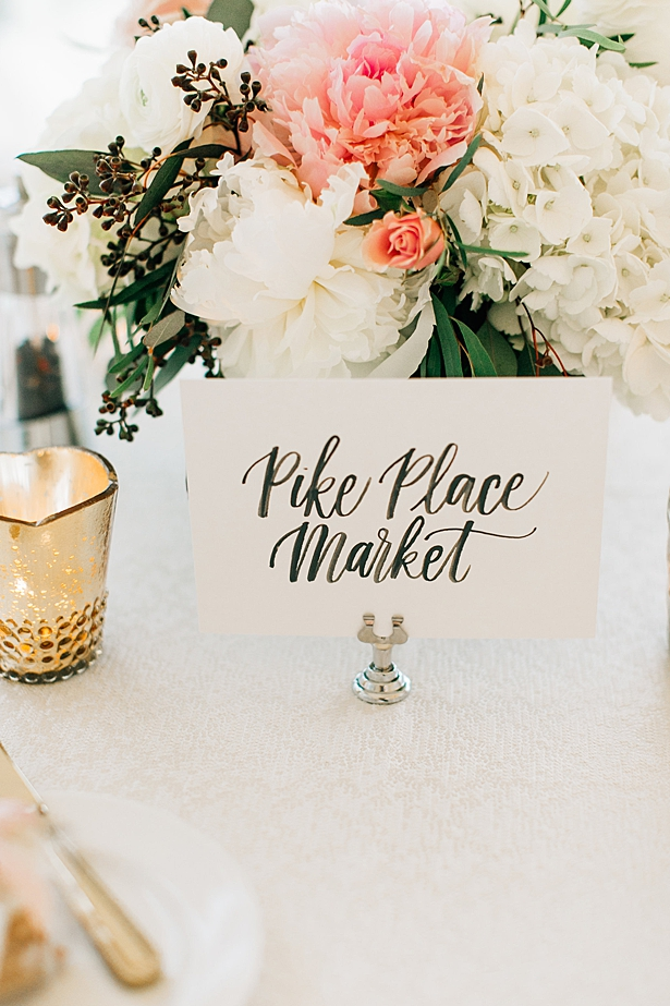 Seattle inspired table number for wedding reception - Jenna Bacholt Photography