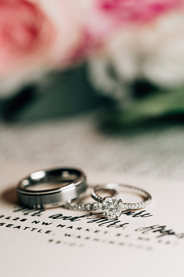 Solitaire engagement ring with matching bands on invitations - Jenna Bacholt Photography