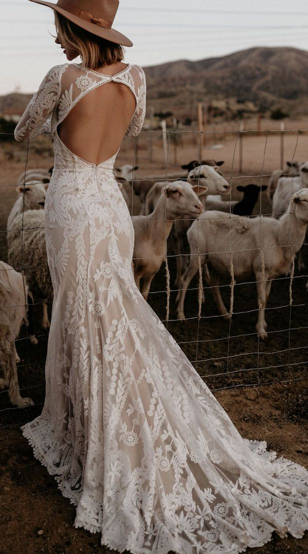 Vintage Bohemian Wedding Dress - Dreamers and Lovers