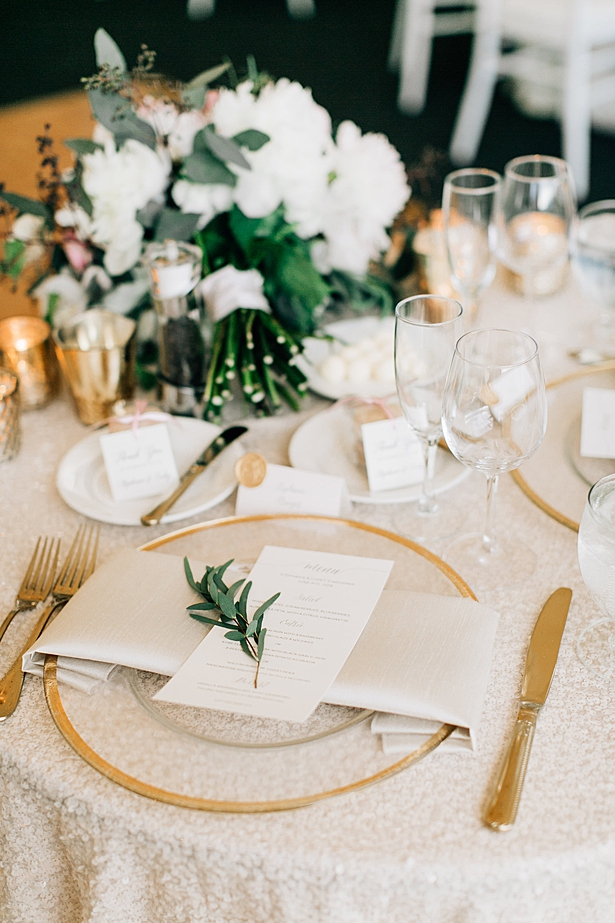 White wedding reception menue with glass and gold place settings - Jenna Bacholt Photography