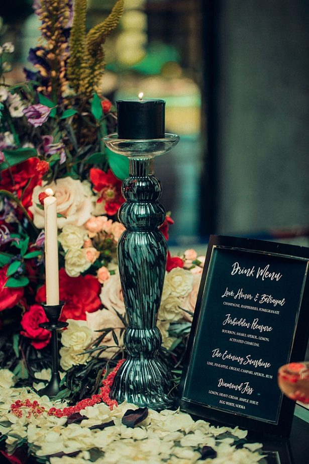 Black and red wedding reception decor - Little Honey Photography