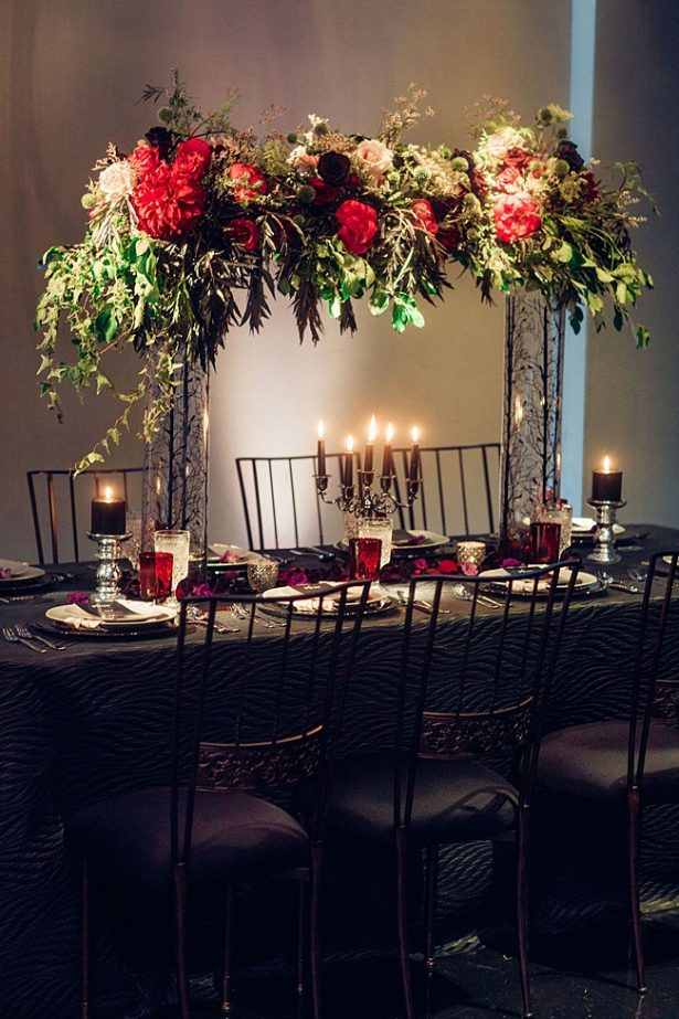 Black and red wedding reception tablescape - Little Honey Photography