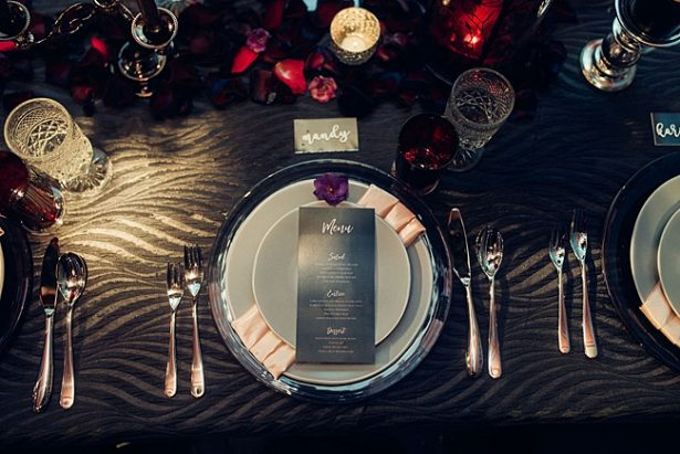Black wedding reception and black table linens - Little Honey Photography