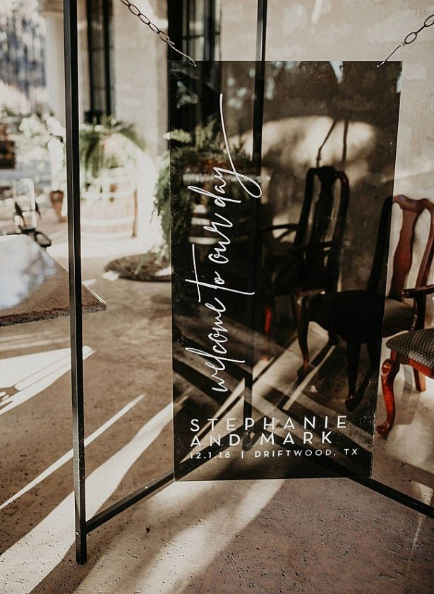 Boho Glamorous Wedding black glass wedding ceremony sign with calligraphy - Nikk Nguyen Photo