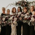 Boho Glamorous Wedding bouquets with bridesmaids in black dresses - Nikk Nguyen Photo
