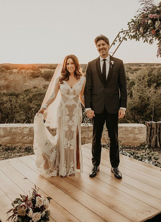 Boho Glamorous Wedding dress for bride and groom sunset photos - Nikk Nguyen Photo