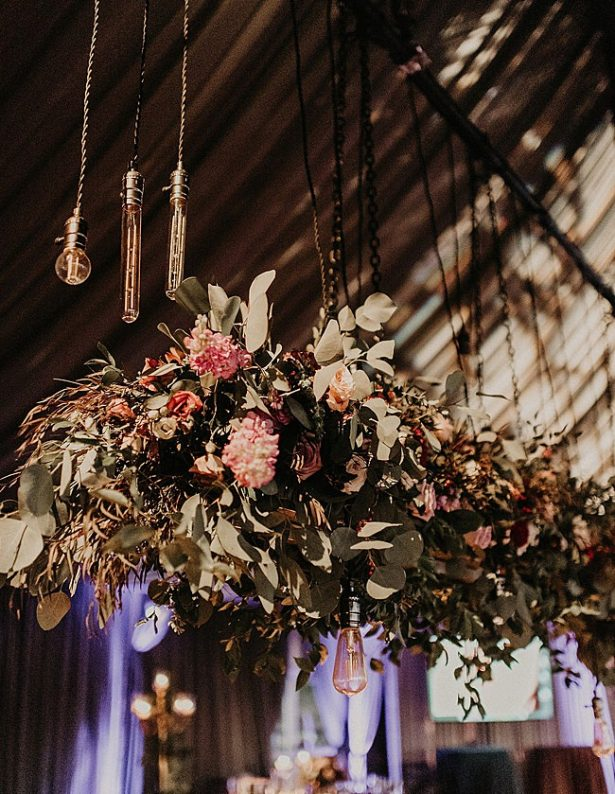 Boho Glamorous Wedding hanging floral instillation reception decor - Nikk Nguyen Photo