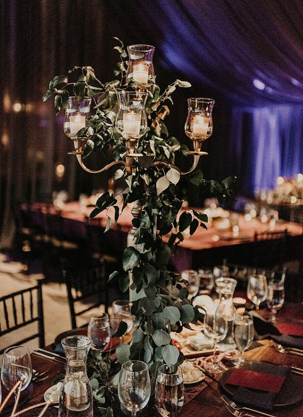 Boho Glamorous Wedding reception decor with candelabra and greenery - Nikk Nguyen Photo