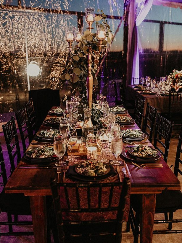 Boho Wedding reception table decor with greenery and candelabra - Nikk Nguyen Photo