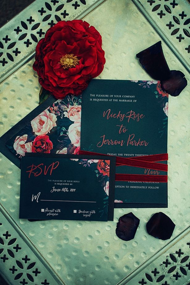 Bold and Glamorous navy wedding invitation suite - Little Honey Photography
