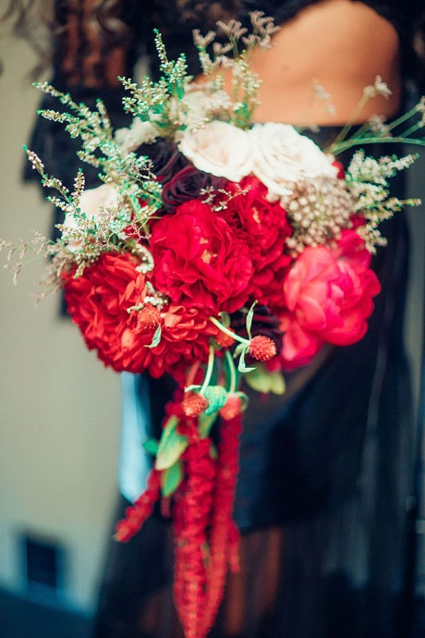 Bold red wedding bouquet - Little Honey Photography