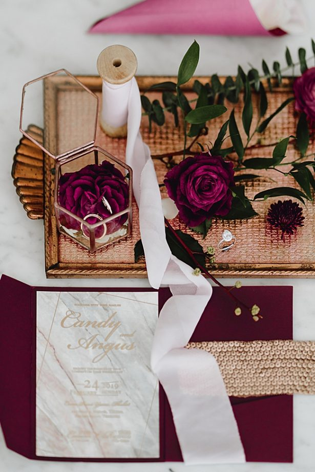 Burgundy Wedding Invitation Suite - Madiow Photography