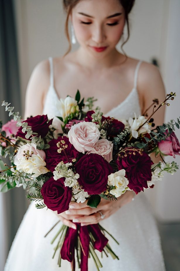Burgundy and blush Wedding bouquet - Madiow Photography