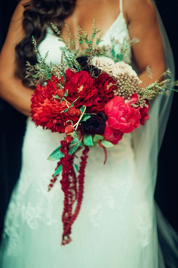 Cascading red brides bouquet for wedding - Little Honey Photography