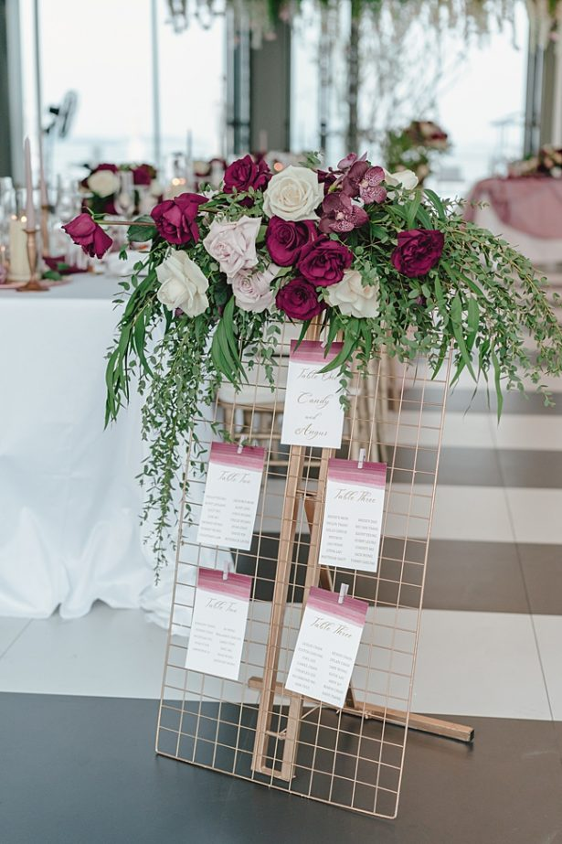 Gold and burgundy wedding seating chart - Madiow Photography