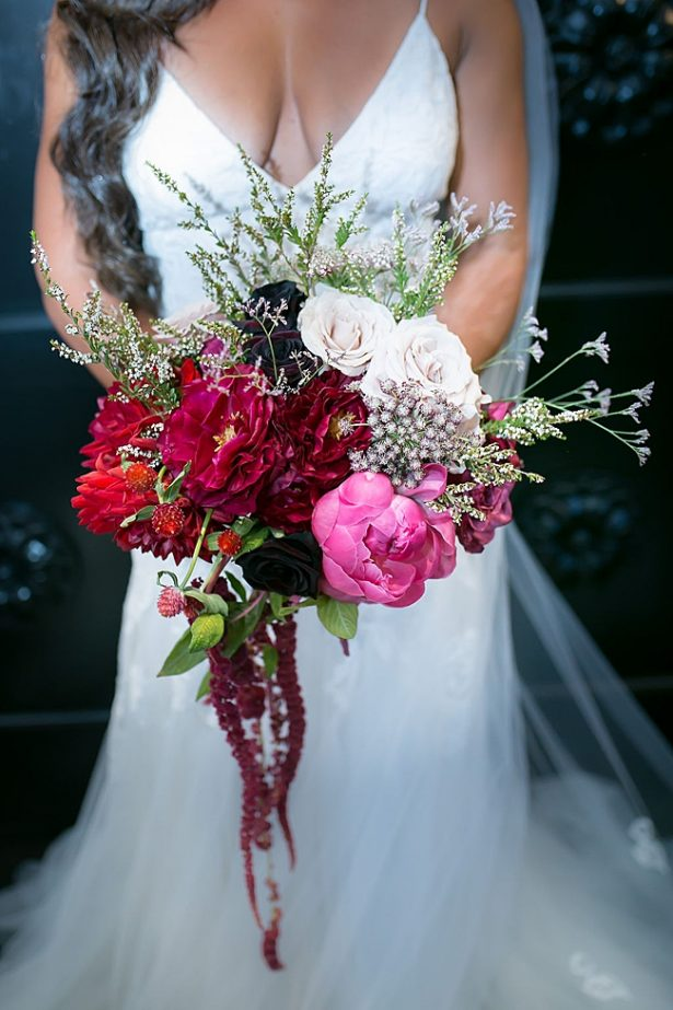 Organic red bridal wedding bouquet - Little Honey Photography