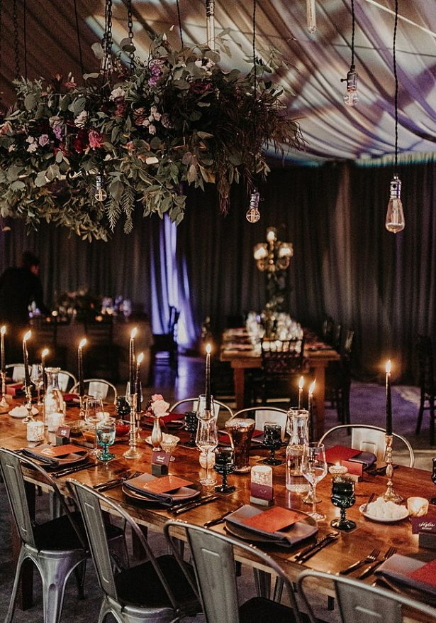 Romantic Boho Glamorous Wedding reception decor with candlelit dinner - Nikk Nguyen Photo