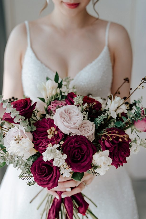 Romantic blush and burgundy wedding bouquet - Madiow Photography