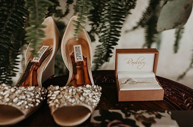Sparkly badgley mischka wedding heels and wedding bands - Nikk Nguyen Photo