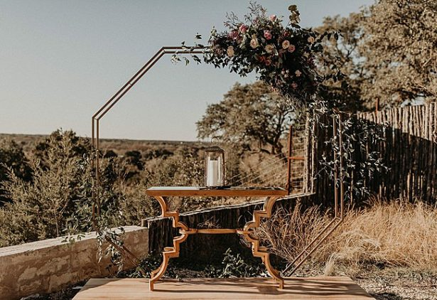 Wedding ceremony octagon floral arbor - Nikk Nguyen Photo