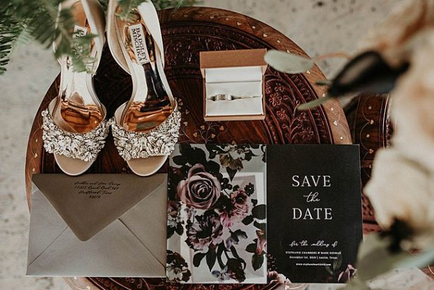 Wedding detail photo with invitation suite and badgley mischka heels - Nikk Nguyen Photo