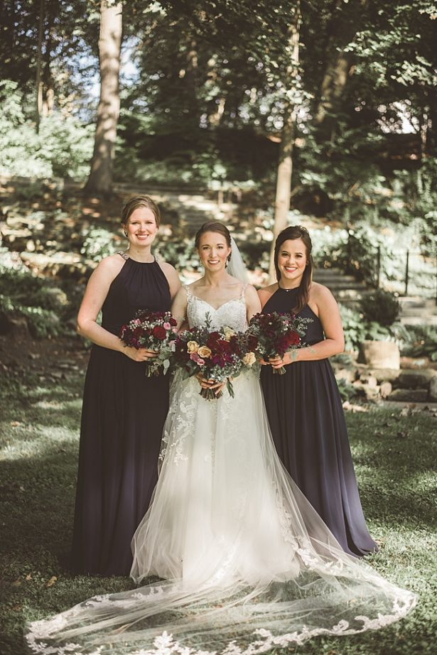 Bride and bridesmaids classic photo with grey bridesmaids dresses - Aileen Elizabeth Photography
