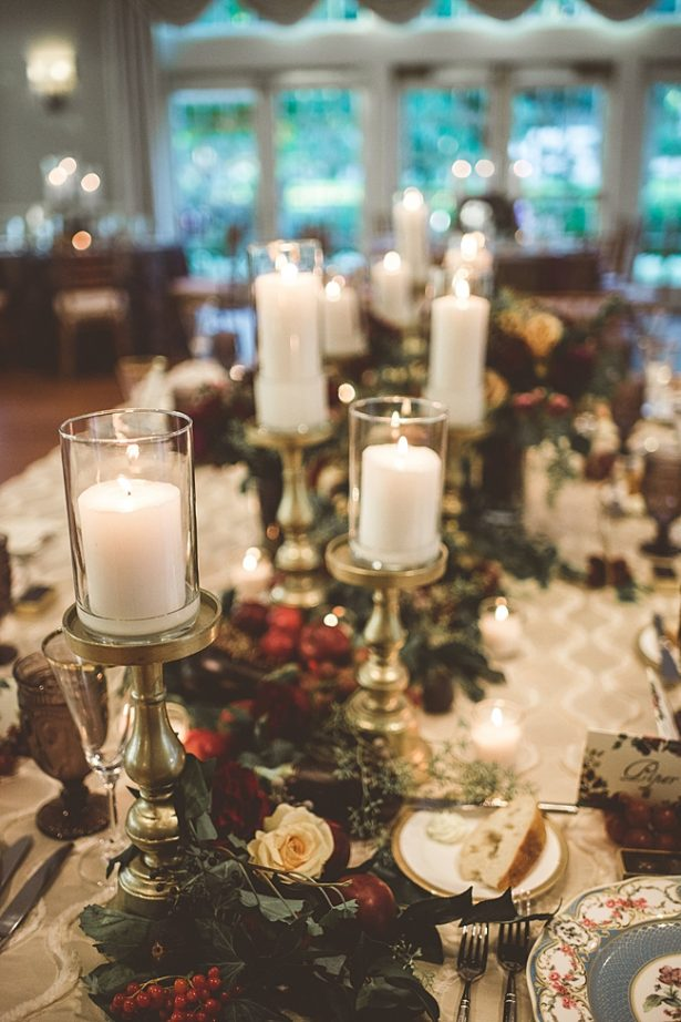 Candle lit reception with burgundy flowers and gold details - Aileen Elizabeth Photography