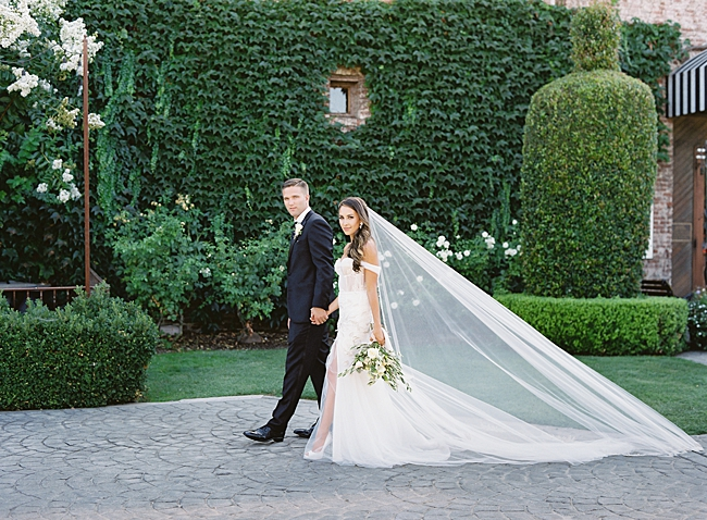 Elegan shot of bride and groom walking with cathedral veil flowing in the wind- O'Malley Photography